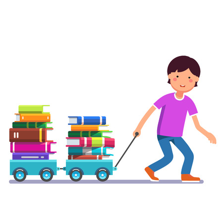 School boy kid pulling wagon cart with pile of books. Little pupil hungry for knowledge. Colorful flat style cartoon vector illustration isolated on white background. Stock Illustratie