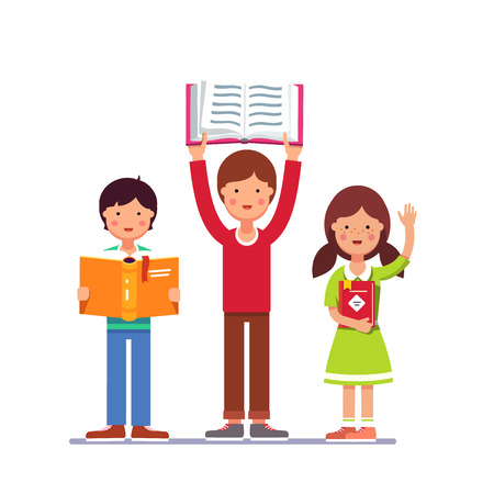 books isolated: School and preschool kids boy and girl holding books in hands. Colorful flat style cartoon vector illustration isolated on white background. Illustration