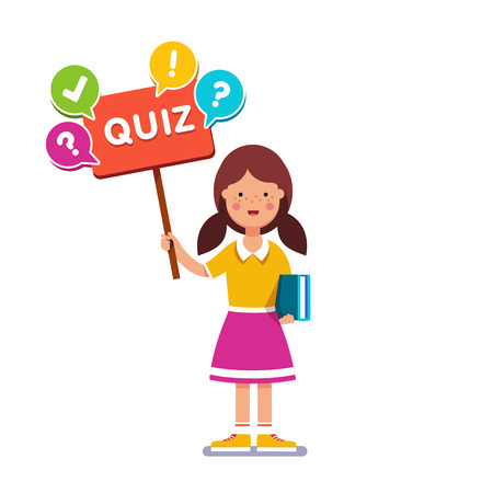 book reader: Smart school girl standing with book in hand, holding quiz placard inviting to play. Young book reader and erudite ready to answer game. Flat style vector illustration. Illustration
