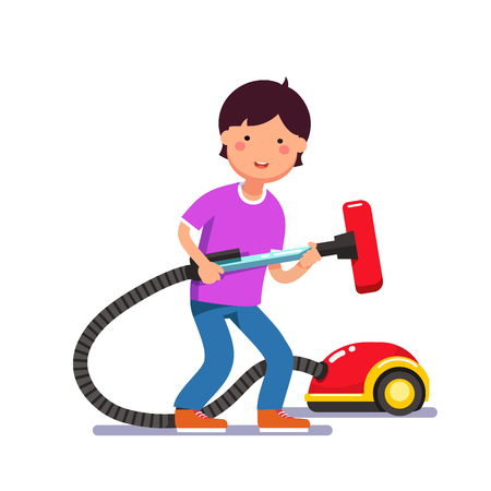 household: Young boy kid holding electric vacuum cleaner pipe in his hands ready for house cleaning chores. Colorful flat style cartoon vector illustration. Illustration