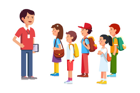 Teacher or coach talking to a group of kids boys and girls. Training them before going to a trip. Colorful flat style cartoon vector illustration.