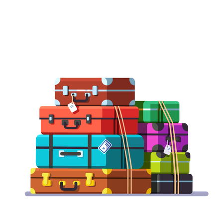 Big packed tightened baggage bags. Retro valise and trunks. Colorful flat style cartoon vector illustration.
