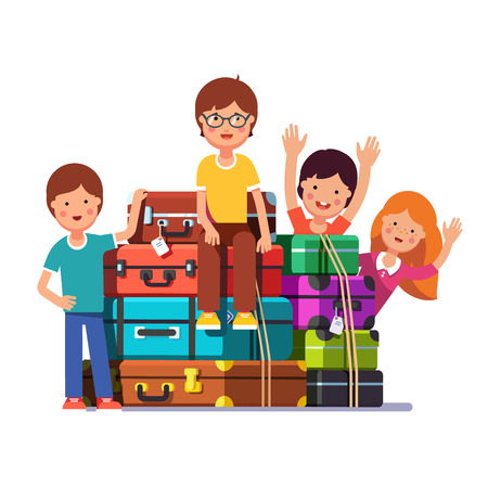 first grader: Kids sitting and standing near big travel bags and valises ready to move. Boy and girls packed for traveling. Colorful flat style cartoon vector illustration.