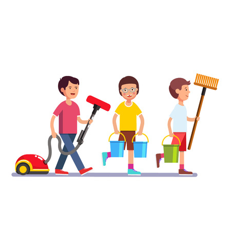 Kids schoonmaken team doen van huishoudelijke taken. Geïnspireerd jongens en meisjes schoonmakers lopen in rijlijn met vacuüm, bezems en water emmer. Kleurrijke vlakke stijl cartoon vector illustratie.