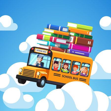 blue roof: School bus with driver and kids riding high in the blue sky clouds. Books baggage on the roof of the bus. Exiting knowledge concept. Flat style cartoon vector illustration.