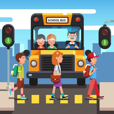 Kids boys and girls school pupils crossing street road stoplight green traffic light in front of school bus. Zebra pedestrian crosswalk. Colorful flat style cartoon vector illustration.