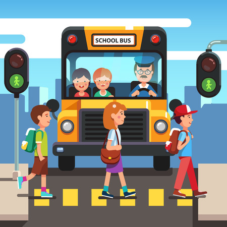 Kids boys and girls school pupils crossing street road stoplight green traffic light in front of school bus. Zebra pedestrian crosswalk. Colorful flat style cartoon vector illustration.