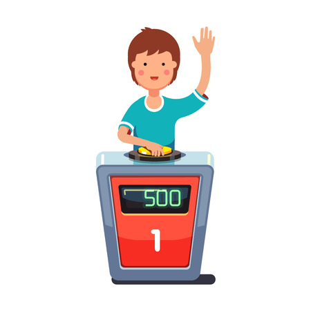 answering: School kid playing quiz game answering question standing at the stand with button. Boy pressed the buzzer first and raised hand up. Colorful flat style cartoon vector illustration. Illustration