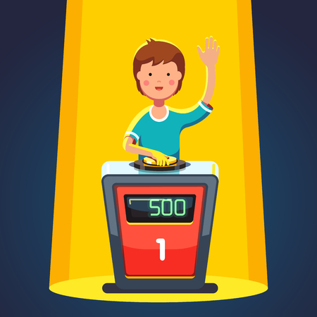 School kid playing quiz game answering question standing at the stand with button. Boy pressed the buzzer first and raised hand up in the light of spotlight. Colorful flat cartoon vector illustration Vettoriali