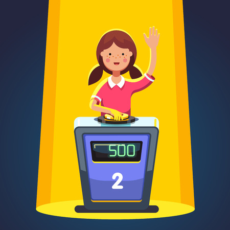school girl: School kid playing quiz game answering question standing at the stand with button. Girl pressed the buzzer first and raised hand up in the light of spotlight. Colorful flat cartoon vector illustration Illustration