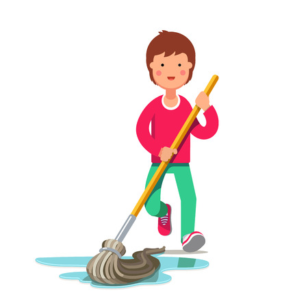 Kid cleaning floor with dust mop wet broom. Inspired boy doing household chores. Colorful flat style cartoon vector illustration.