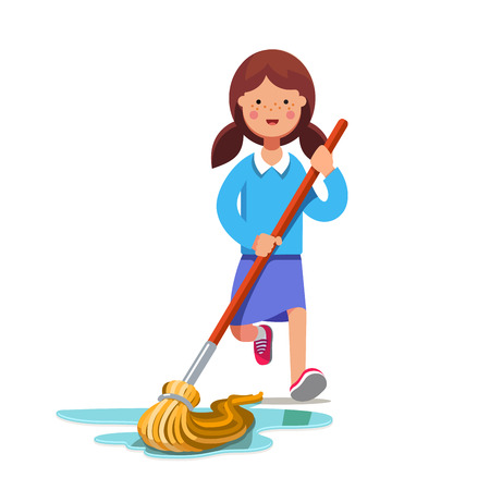 chores: Kid cleaning floor with dust mop wet broom. Inspired girl doing household chores. Colorful flat style cartoon vector illustration. Illustration