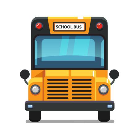 노란색 스쿨 버스 정면보기입니다. 다채로운 평면 스타일 벡터 일러스트 레이 션 흰색 배경에 고립.