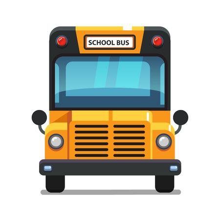 Yellow school bus front view. Colorful flat style vector illustration isolated on white background.
