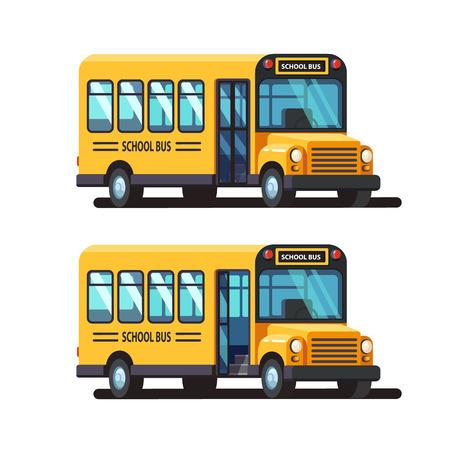 폐쇄 및 열린 문을 노란색 학교 버스 3d 측면보기. 다채로운 평면 스타일 벡터 일러스트 레이 션 흰색 배경에 고립.