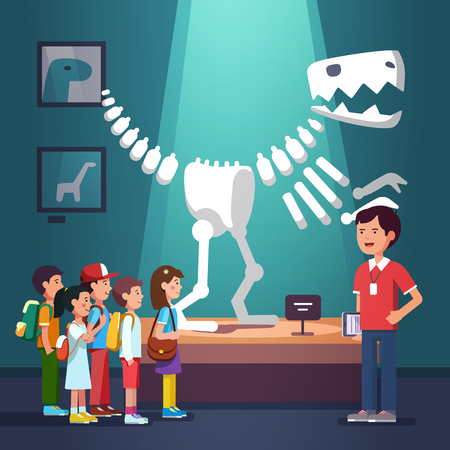 school boys: Group of kids boys and girls watching tyrannosaurus dinosaur skeleton at archeology museum excursion with teacher. School or kindergarten students on filed trip. Flat style vector illustration cartoon Illustration