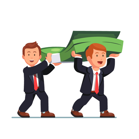 Two business man carrying huge money bundle. Businessman walking with dollar banknotes cash. Flat style vector illustration isolated on white background.