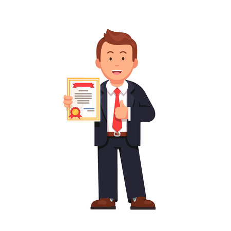 Standing business man holding certificate or diploma and showing thumbs up gesture. Flat style vector illustration isolated on white background. Stock Illustratie
