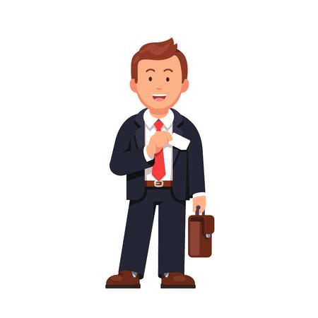 Staande bedrijfsmens met een aktentas die adreskaartje uit zijn jasjezak neemt. Vlakke stijl vectorillustratie geïsoleerd op een witte achtergrond.