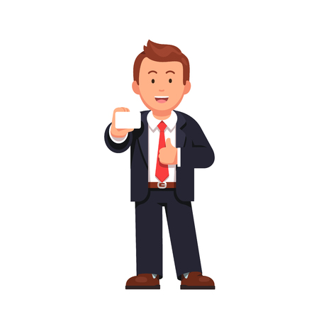 Standing business man showing business card in right hand. Flat style vector illustration isolated on white background.