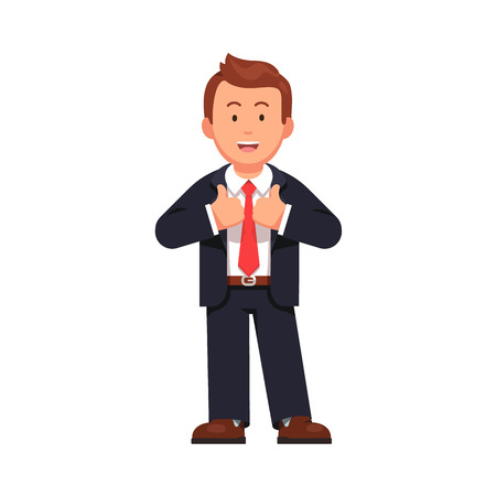 Standing business man showing thumbs up gesture sign with both hands. Leader cheering in a friendly way. Flat style vector illustration isolated on white background.