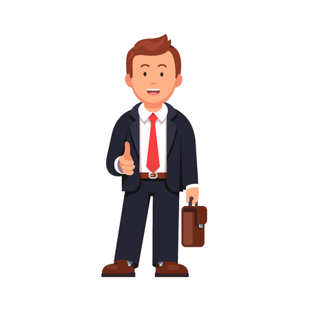 Standing businessman stretching his open hand offering handshake. Welcoming and ready for business. Flat style vector illustration isolated on white background. Stock Illustratie