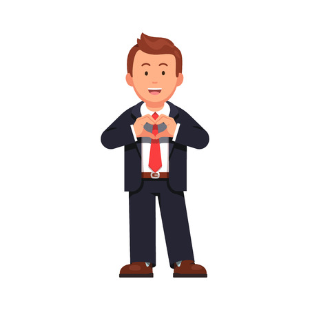 office manager: Standing business man showing heart sign with his hands expressing his love, passion, support and care. Flat style vector illustration isolated on white background. Illustration