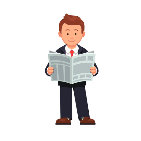 Standing business man reading news paper. Holding opened newspaper in hands. Flat style vector illustration isolated on white background.
