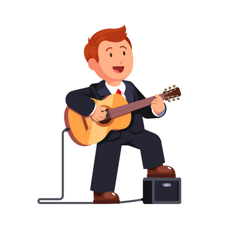 solo: Business man in a suit playing guitar music and singing a song, standing one leg on a combo guitar amplifier. Flat style vector illustration isolated on white background.