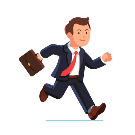 Business man in suit and red tie running fast holding briefcase. Fast run of businessman. Flat style vector illustration isolated on white background.