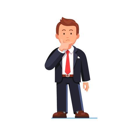 In piedi uomo d'affari che fa gesto di pensiero. Accarezzare o graffiare mento pensieroso. Vista frontale. Piatto stile illustrazione vettoriale isolato su sfondo bianco.