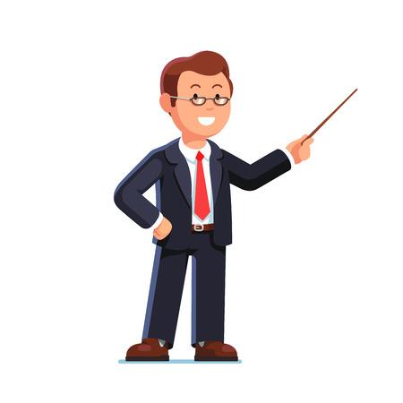 De pie profesor hombre de negocios con gafas que apunta con el palillo puntero de madera. ilustración vectorial de estilo plano aislado en el fondo blanco. Vectores