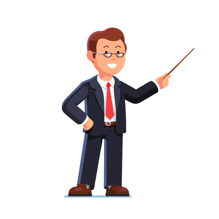 Standing business man teacher wearing glasses pointing with wooden pointer stick. Flat style vector illustration isolated on white background. Иллюстрация
