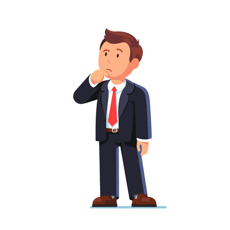 Standing business man making thinking gesture. Stroking or scratching chin thoughtfully and looking up. Flat style vector illustration isolated on white background. Vettoriali