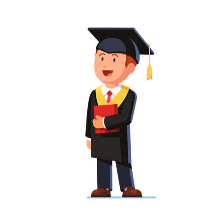 graduated: Happy student graduated from business school wearing mortar board hat and gown. Educated businessman thinking about his future. Flat style vector illustration isolated on white background.