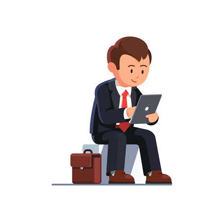 Sitting business man using his tablet computer holding it in left hand and taping screen with right. Flat style vector illustration isolated on white background.