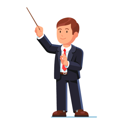 Standing orchestra conductor directing classical music with his wooden stick. Flat style vector illustration isolated on white background. Illustration