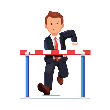 Hombre de negocios enojado en una carrera de obstáculos en ejecución a un obstáculo barrera preparándose para saltar. carrera de negocios resuelto. ilustración vectorial de estilo plano aislado en el fondo blanco.