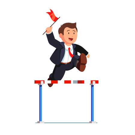 Business man competing in a steeplechase race holding a leader red flag in hand jumping over the obstacle. Determined businessman. Flat style vector illustration isolated on white background.
