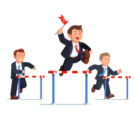 steeplechase: Business man competing in a steeplechase race following the leader with the red flag in hand jumping over the obstacle. Determined businessman. Flat style vector illustration.