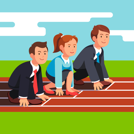 start line: Business man and woman sitting in starting position at start line ready to sprint run on race track. Businessman competition. Flat style vector illustration isolated on white background. Illustration