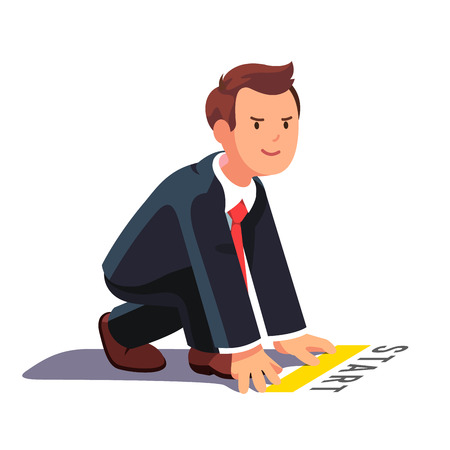 Business man in starting position ready to sprint run. Side view. Flat style vector illustration isolated on white background. Stock Illustratie