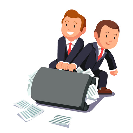 bloated: Two lawyers dragging huge heavy bloated briefcase full of papers and documents. Business man team doing paperwork. Legal burden concept. Flat style vector illustration.