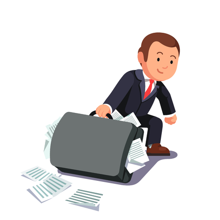 bloated: Businessman dragging huge heavy bloated briefcase full of papers and documents. Lawyer man paperwork and legal burden concept. Flat style vector illustration. Illustration