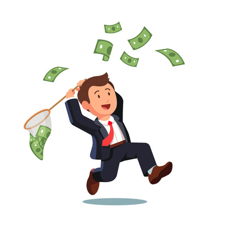 Businessman trying to catch flying money with a butterfly net. Happy running entrepreneur man using business opportunity to scoop some dollar bills. Flat style vector illustration.