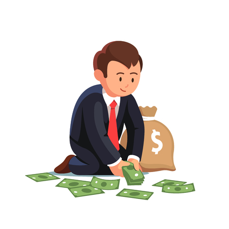 money sack: Business man gathering dollar banknotes to a money sack. Sitting businessman collecting cash from the floor. Wealth accumulation concept. Flat style vector illustration isolated on white background.