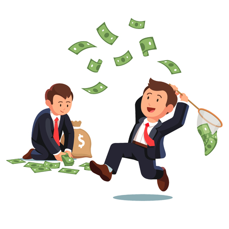 man flying: Businessman trying to catch flying money with a butterfly net and business man gathering dollar banknotes to a money sack. Opportunity to scoop some dollar bills. Flat style vector illustration.