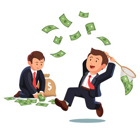 Homme d'affaires essayant d'attraper de l'argent avec un filet papillon et un homme d'affaires réunissant des billets en dollars à un sac d'argent. Possibilité de recueillir des billets en dollars. Illustration vectorielle de style plat.
