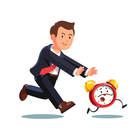 Late business man chasing deadline time in a rush hour. Businessman running after animated alive clock. Flat style vector illustration isolated on white background.