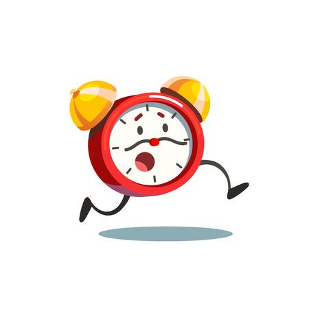 El despertador corriente viva animada con las piernas y cara de preocupación y las flechas de tiempo bigote. ilustración vectorial de estilo plano aislado en el fondo blanco. Ilustración de vector